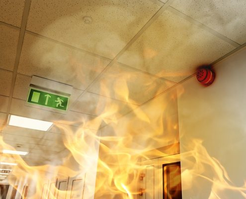 Fireproof coating in hallway